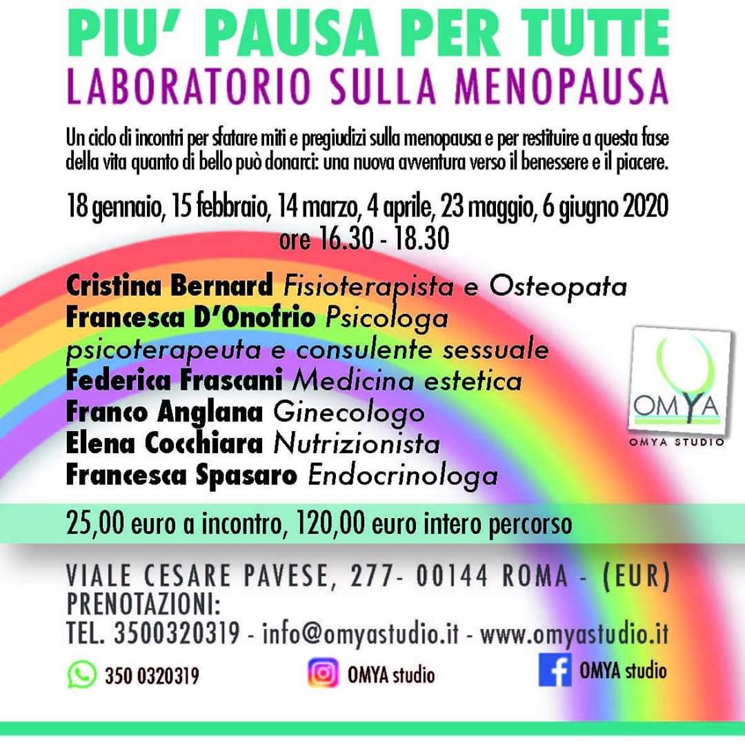 Più Pausa per Tutte: Laboratorio sulla Menopausa- EVENTO RIMANDATO CAUSA DECRETO MINISTERIALE SULLA EMERGENZA SANITARIA