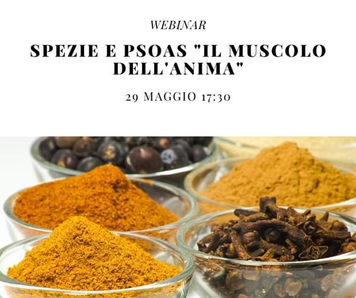 """Webinar su Zoom: Spezie e PSOAS """"Il Muscolo dell'Anima"""""""